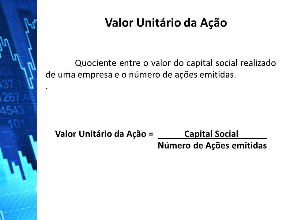 Valor Unitário da Ação Valor Unitário da Ação = Capital Social .