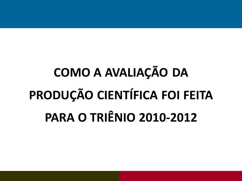 COMO A AVALIAÇÃO DA PRODUÇÃO CIENTÍFICA FOI FEITA PARA O TRIÊNIO 2010-2012