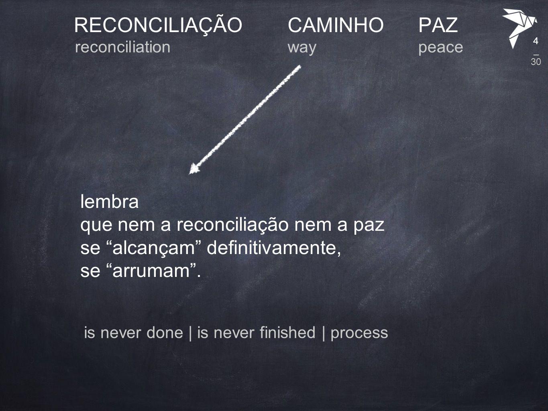 RECONCILIAÇÃO CAMINHO PAZ lembra que nem a reconciliação nem a paz