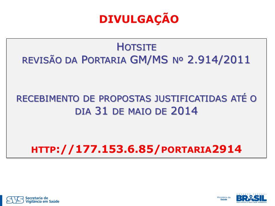 revisão da Portaria GM/MS nº 2.914/2011
