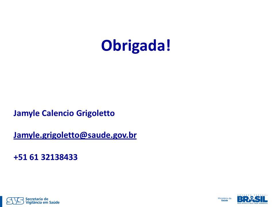Obrigada! Jamyle Calencio Grigoletto Jamyle.grigoletto@saude.gov.br