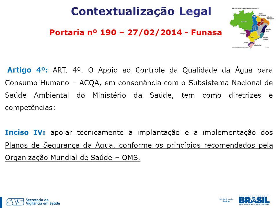 Contextualização Legal Portaria nº 190 – 27/02/2014 - Funasa