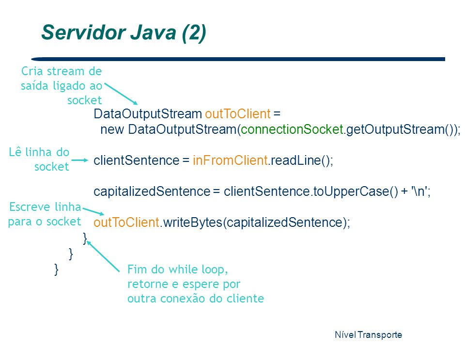 Servidor Java (2) DataOutputStream outToClient =