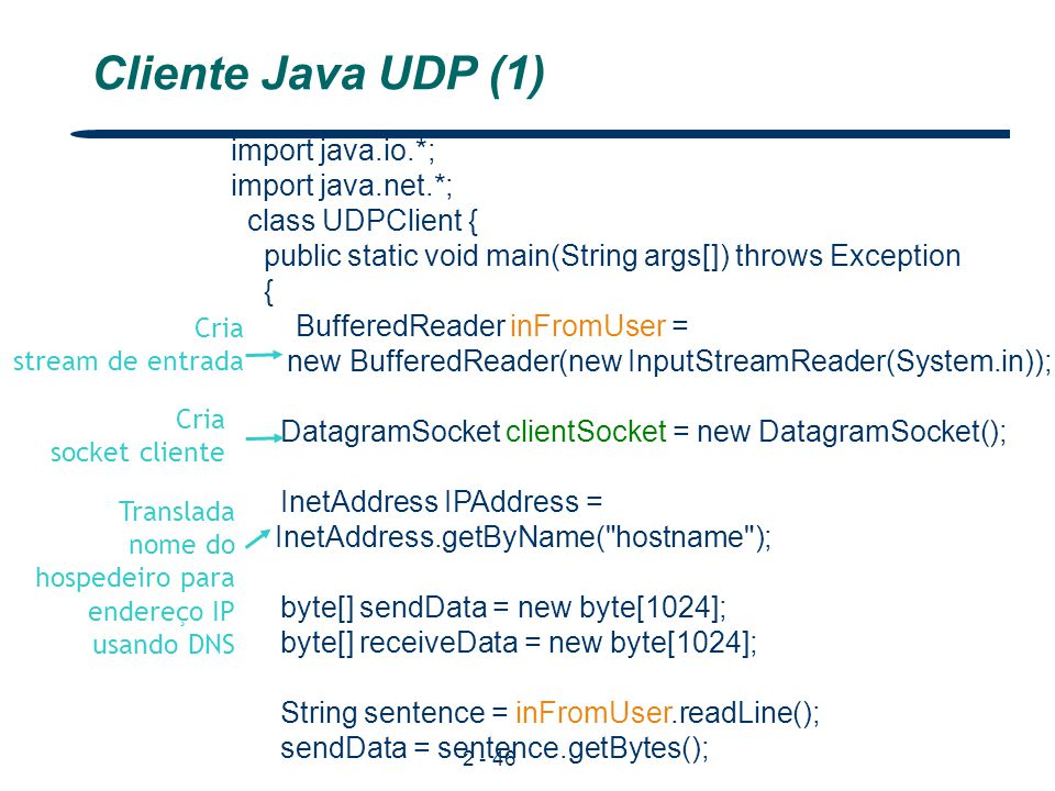 Cliente Java UDP (1) import java.io.*; import java.net.*;