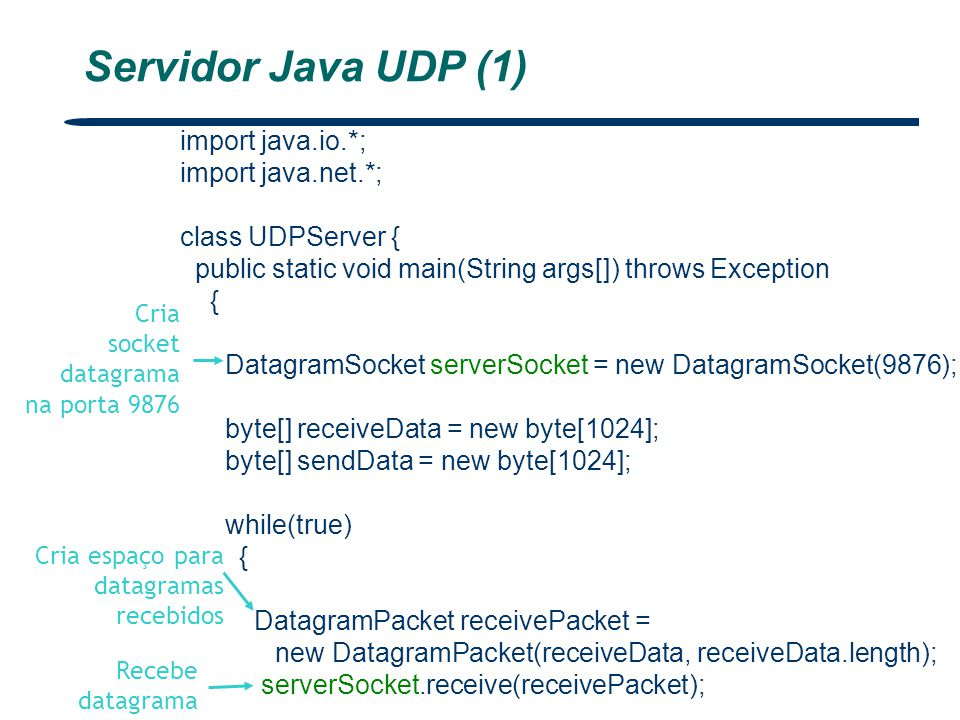 Servidor Java UDP (1) import java.io.*; import java.net.*;