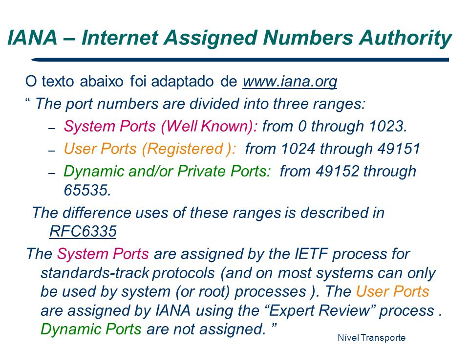 IANA – Internet Assigned Numbers Authority