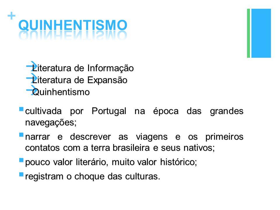 QUINHENTISMO Literatura de Informação Literatura de Expansão