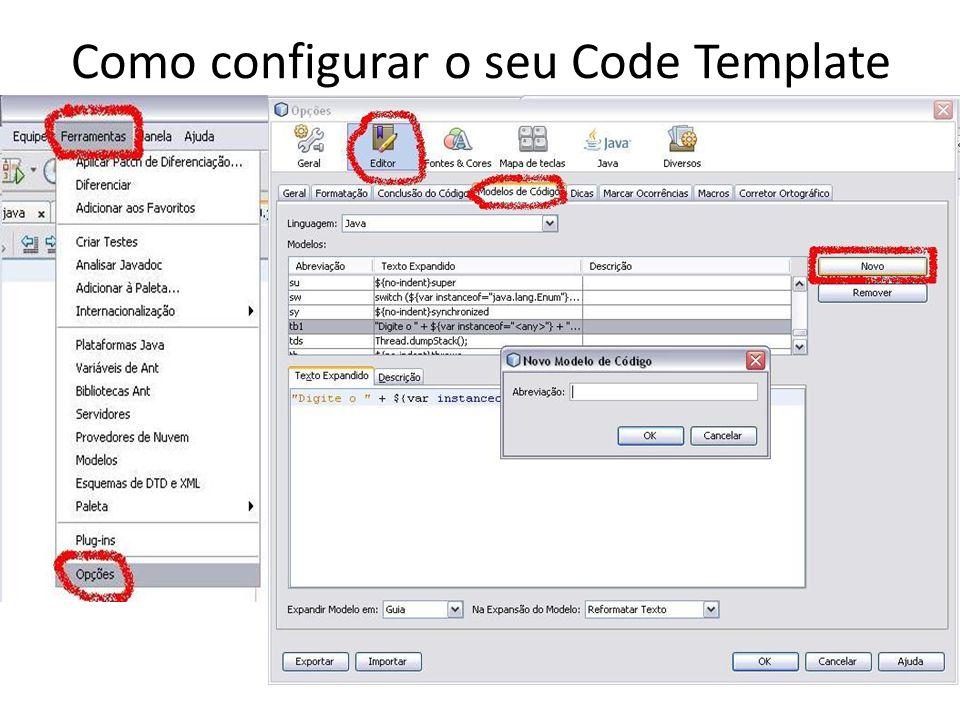 Como configurar o seu Code Template