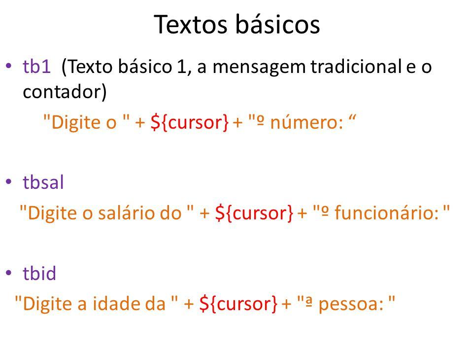 Textos básicos tb1 (Texto básico 1, a mensagem tradicional e o contador) Digite o + ${cursor} + º número: