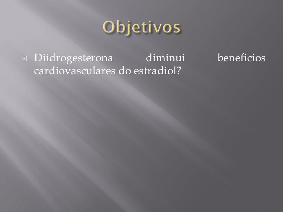 Objetivos Diidrogesterona diminui beneficios cardiovasculares do estradiol Estudo retrospectivo. Poucos pacientes.