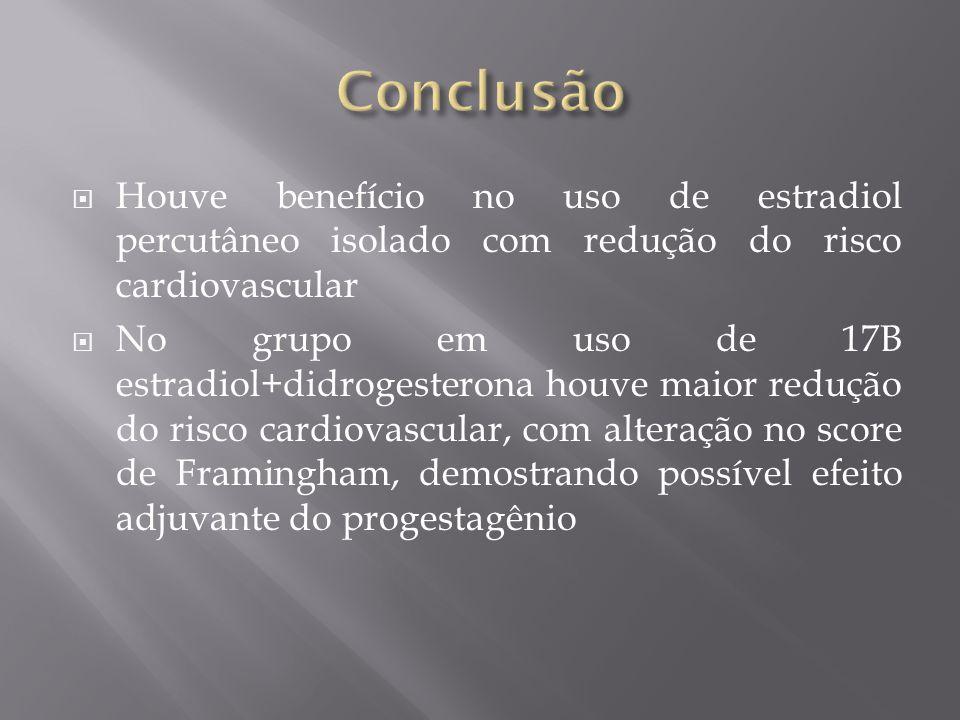 Conclusão Houve benefício no uso de estradiol percutâneo isolado com redução do risco cardiovascular.