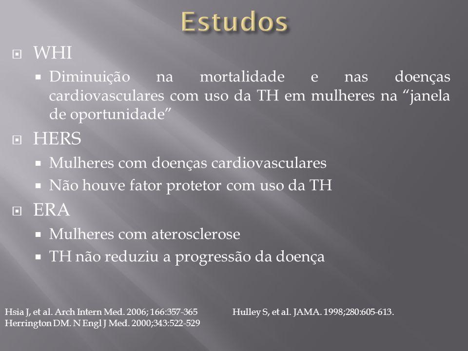 Estudos WHI. Diminuição na mortalidade e nas doenças cardiovasculares com uso da TH em mulheres na janela de oportunidade