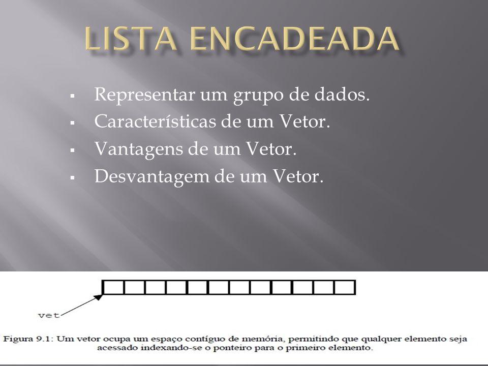 Lista encadeada Representar um grupo de dados.