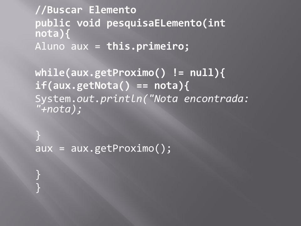 //Buscar Elemento public void pesquisaELemento(int nota){ Aluno aux = this.primeiro; while(aux.getProximo() != null){