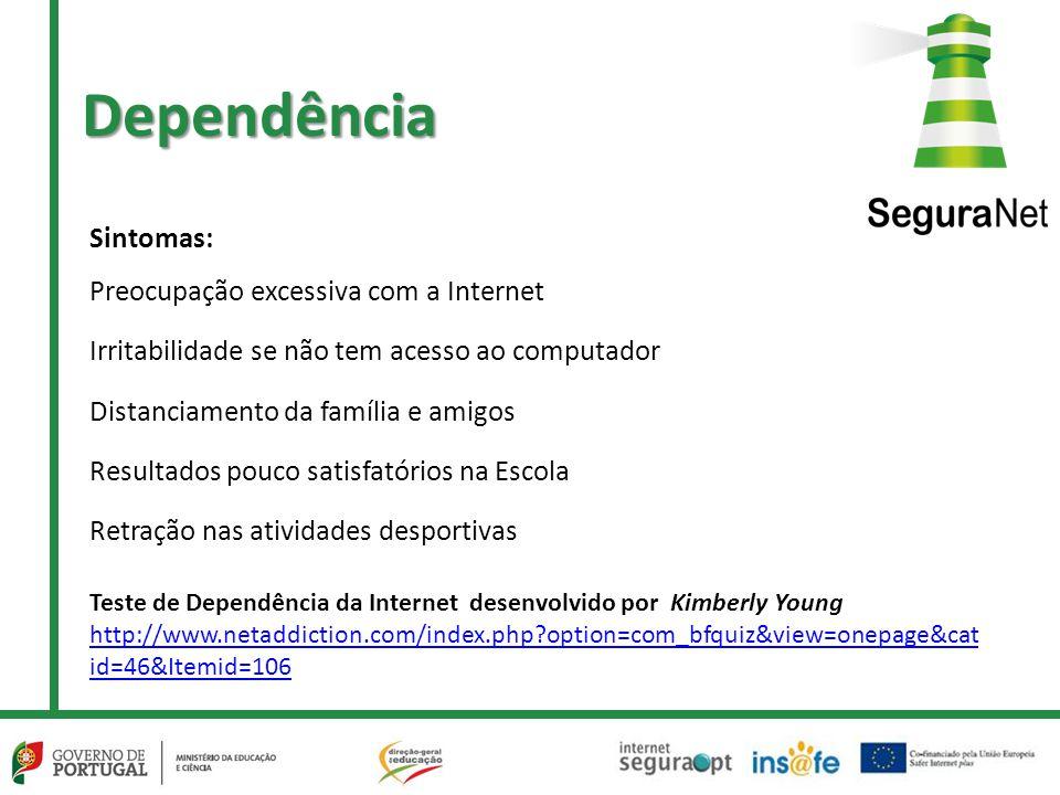Dependência Sintomas: Preocupação excessiva com a Internet
