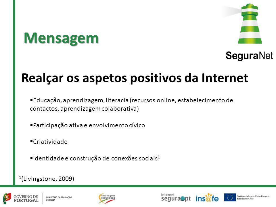 Realçar os aspetos positivos da Internet