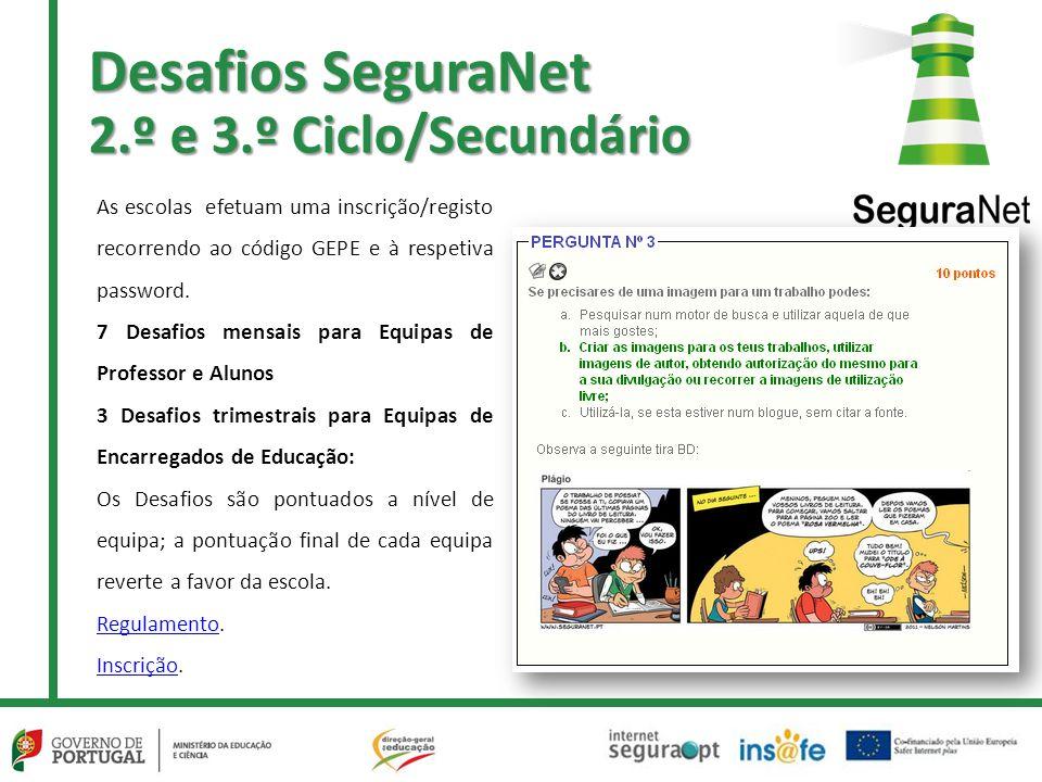 Desafios SeguraNet 2.º e 3.º Ciclo/Secundário