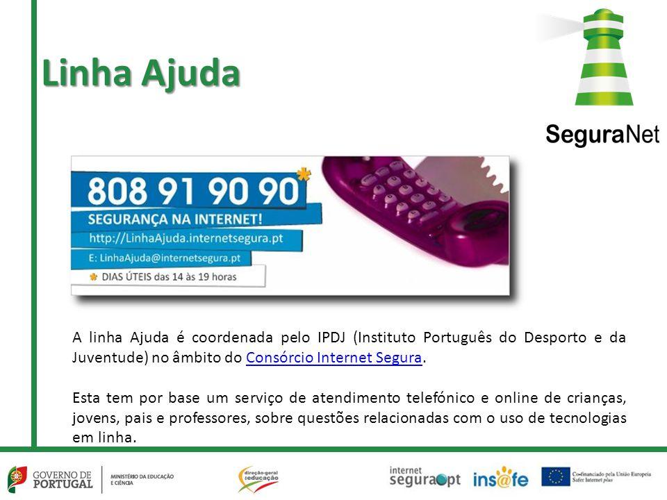 Linha Ajuda A linha Ajuda é coordenada pelo IPDJ (Instituto Português do Desporto e da Juventude) no âmbito do Consórcio Internet Segura.