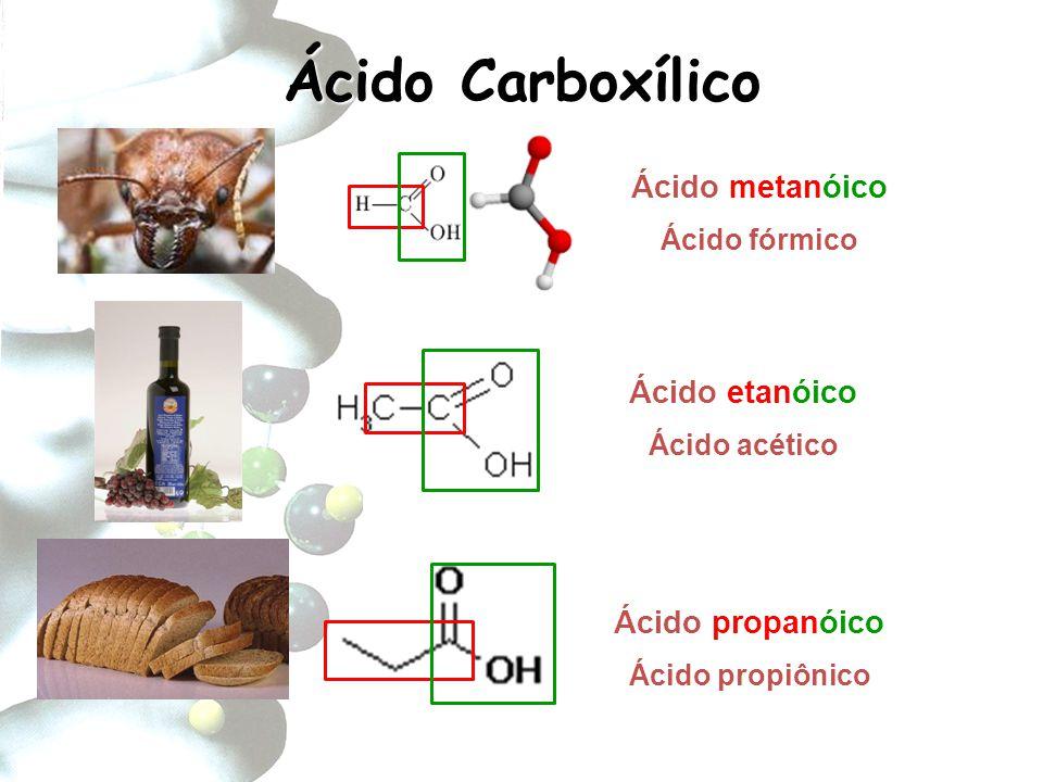 Ácido Carboxílico Ácido metanóico Ácido etanóico Ácido propanóico