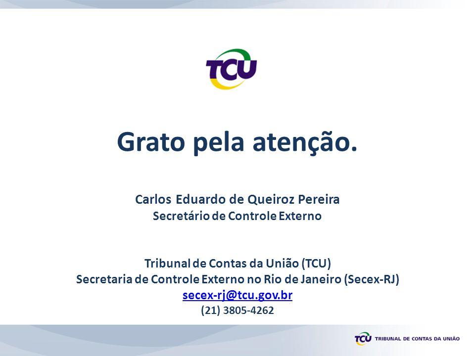 Grato pela atenção. Carlos Eduardo de Queiroz Pereira