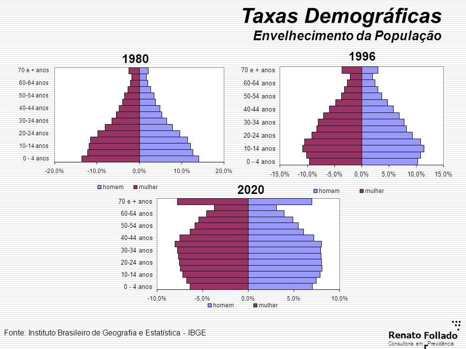 Taxas Demográficas Envelhecimento da População 1996 1980 2020