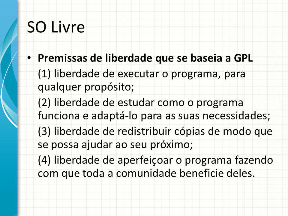 SO Livre Premissas de liberdade que se baseia a GPL