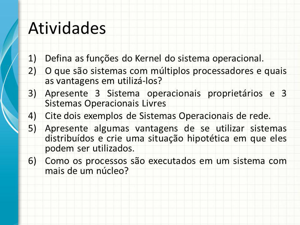 Atividades Defina as funções do Kernel do sistema operacional.