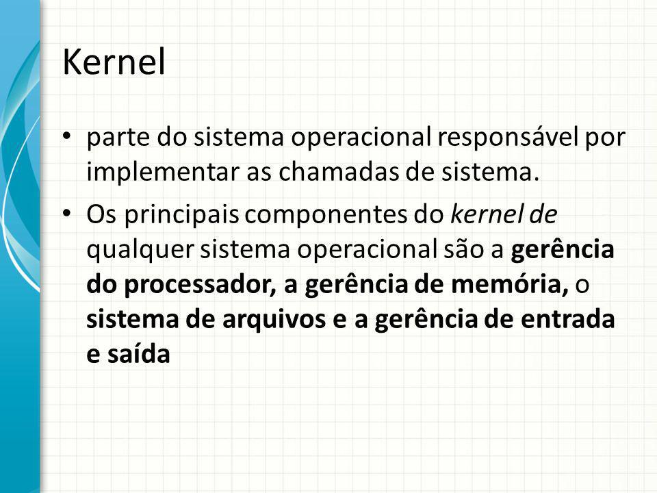 Kernel parte do sistema operacional responsável por implementar as chamadas de sistema.