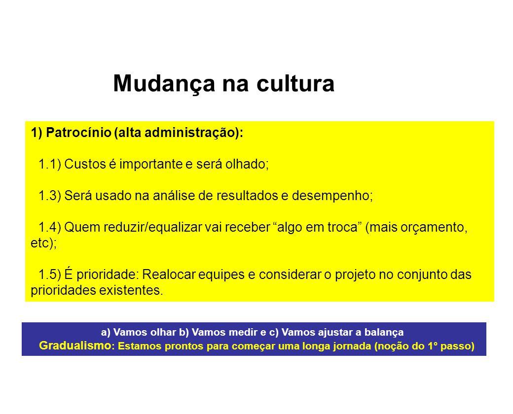 Mudança na cultura 1) Patrocínio (alta administração):