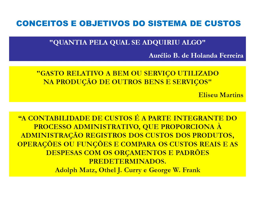 CONCEITOS E OBJETIVOS DO SISTEMA DE CUSTOS