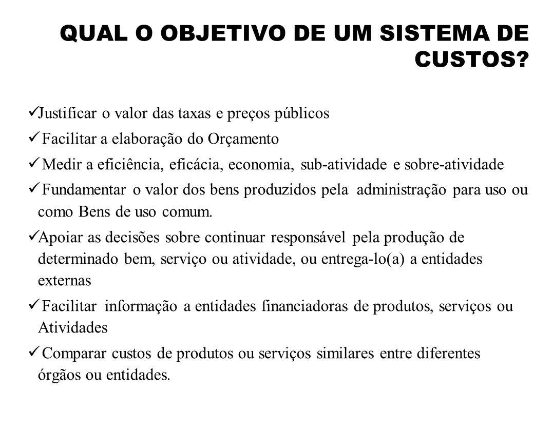 QUAL O OBJETIVO DE UM SISTEMA DE CUSTOS