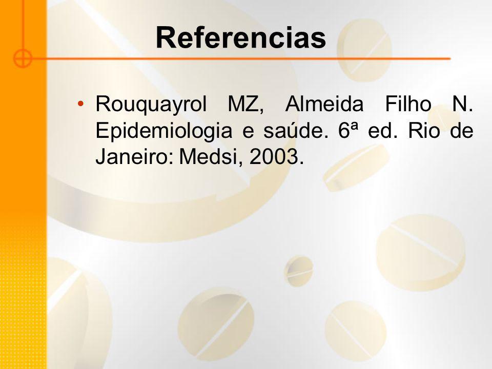 Referencias Rouquayrol MZ, Almeida Filho N. Epidemiologia e saúde.
