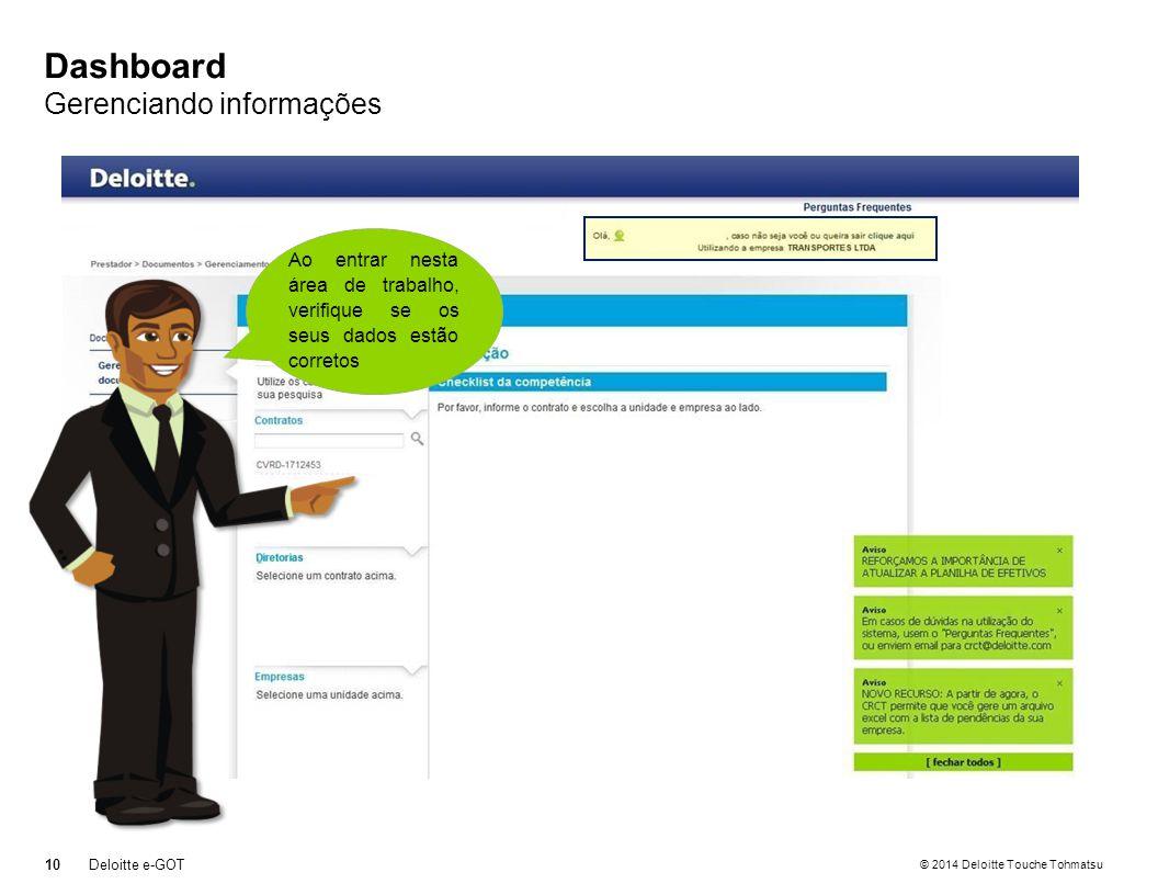 Dashboard Gerenciando informações