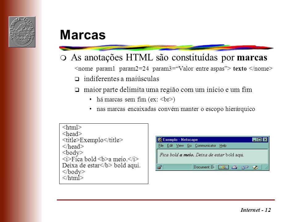 Marcas As anotações HTML são constituídas por marcas