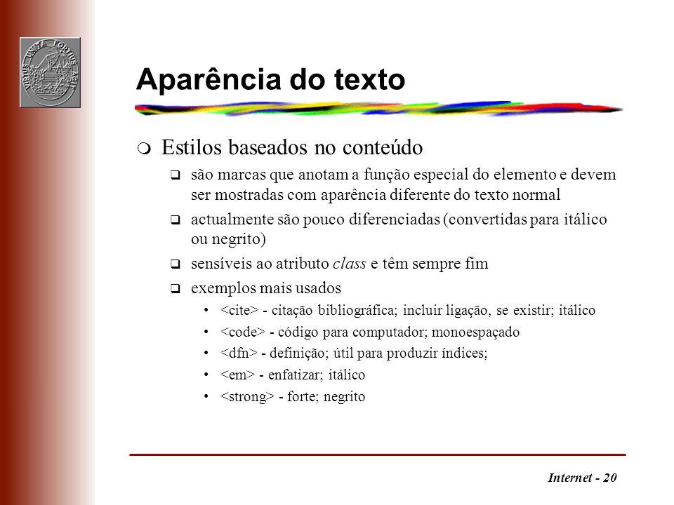 Aparência do texto Estilos baseados no conteúdo