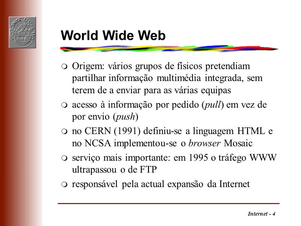 World Wide Web Origem: vários grupos de físicos pretendiam partilhar informação multimédia integrada, sem terem de a enviar para as várias equipas.