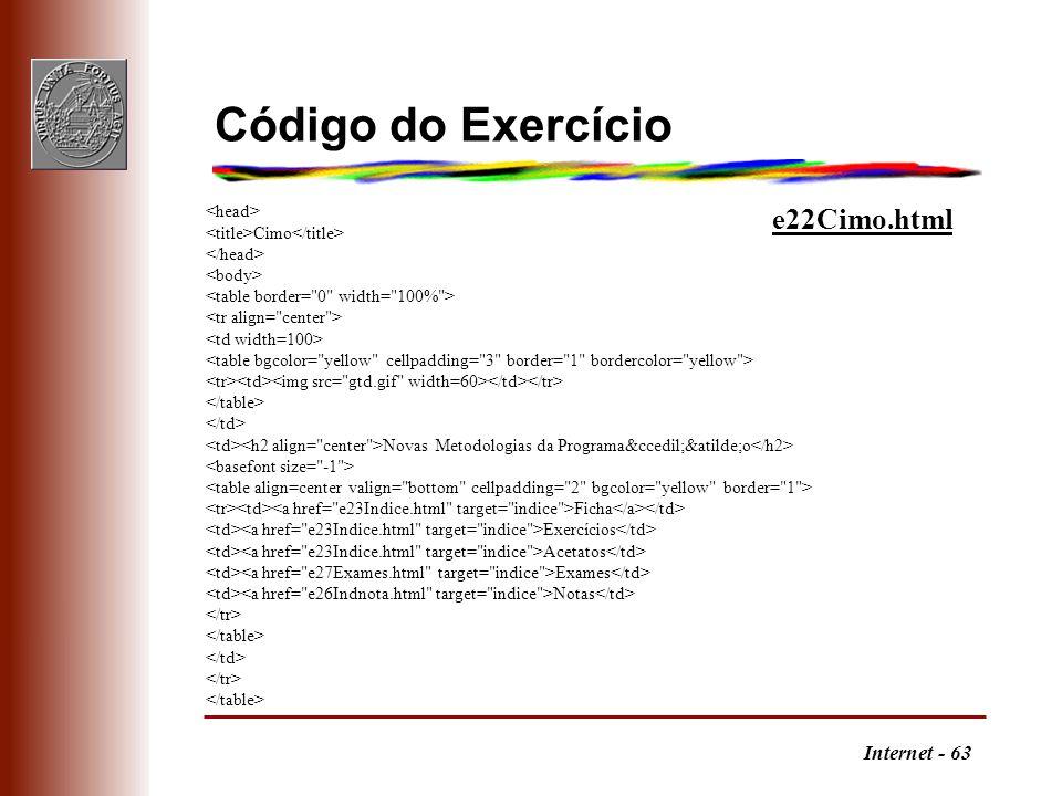 Código do Exercício e22Cimo.html <head>