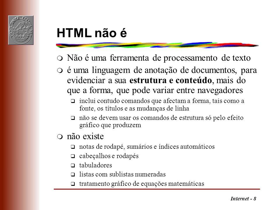 HTML não é Não é uma ferramenta de processamento de texto