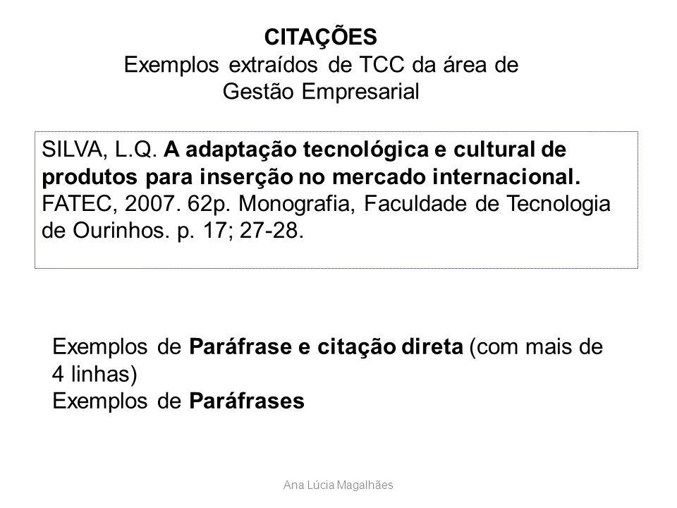 Exemplos extraídos de TCC da área de