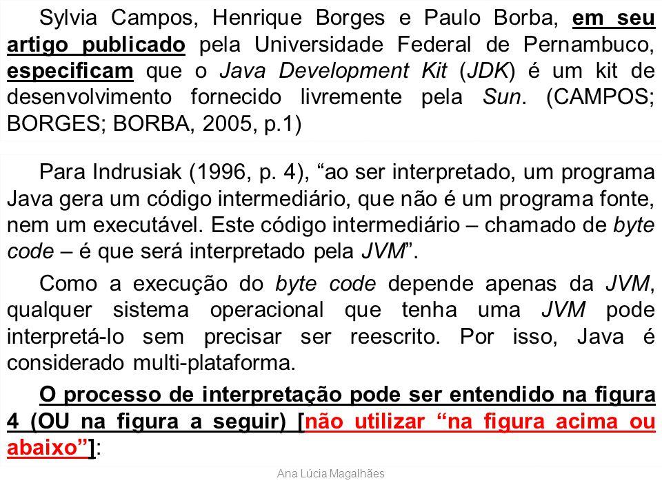 Sylvia Campos, Henrique Borges e Paulo Borba, em seu artigo publicado pela Universidade Federal de Pernambuco, especificam que o Java Development Kit (JDK) é um kit de desenvolvimento fornecido livremente pela Sun. (CAMPOS; BORGES; BORBA, 2005, p.1)