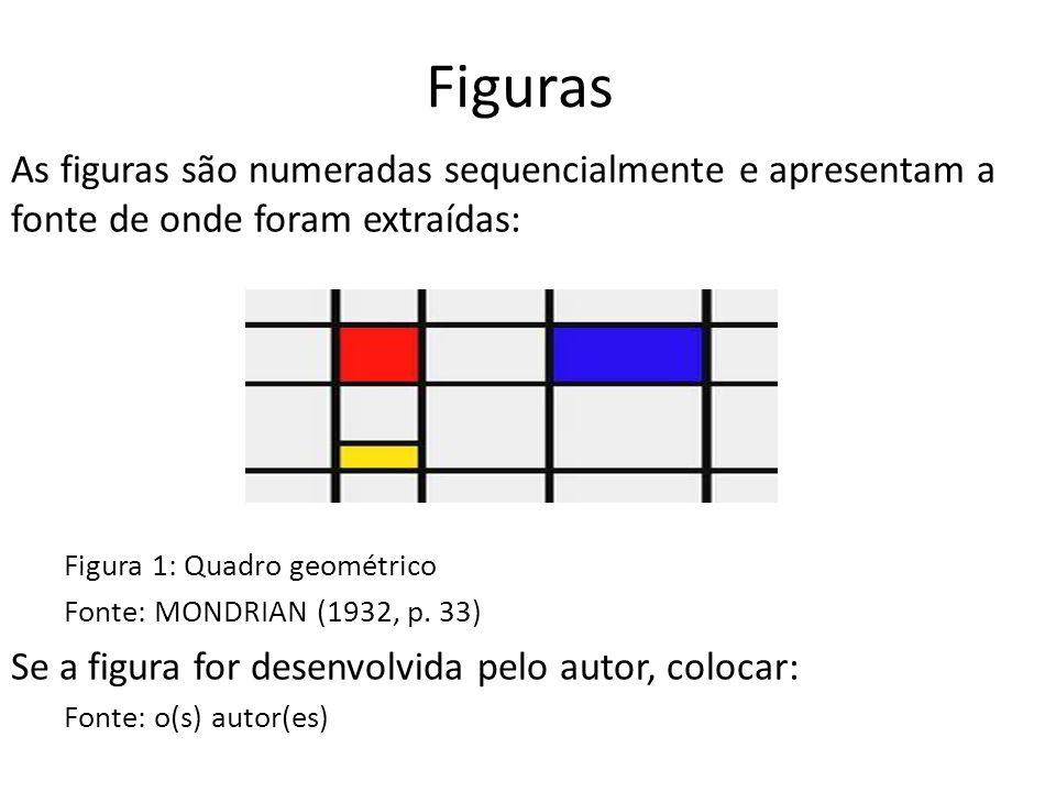 Figuras As figuras são numeradas sequencialmente e apresentam a fonte de onde foram extraídas: Figura 1: Quadro geométrico.