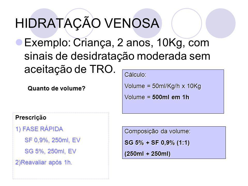 HIDRATAÇÃO VENOSA Exemplo: Criança, 2 anos, 10Kg, com sinais de desidratação moderada sem aceitação de TRO.