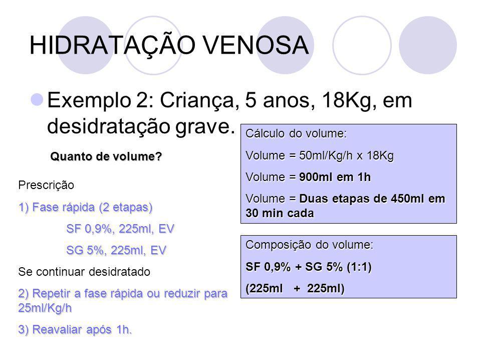 HIDRATAÇÃO VENOSA Exemplo 2: Criança, 5 anos, 18Kg, em desidratação grave. Cálculo do volume: Volume = 50ml/Kg/h x 18Kg.