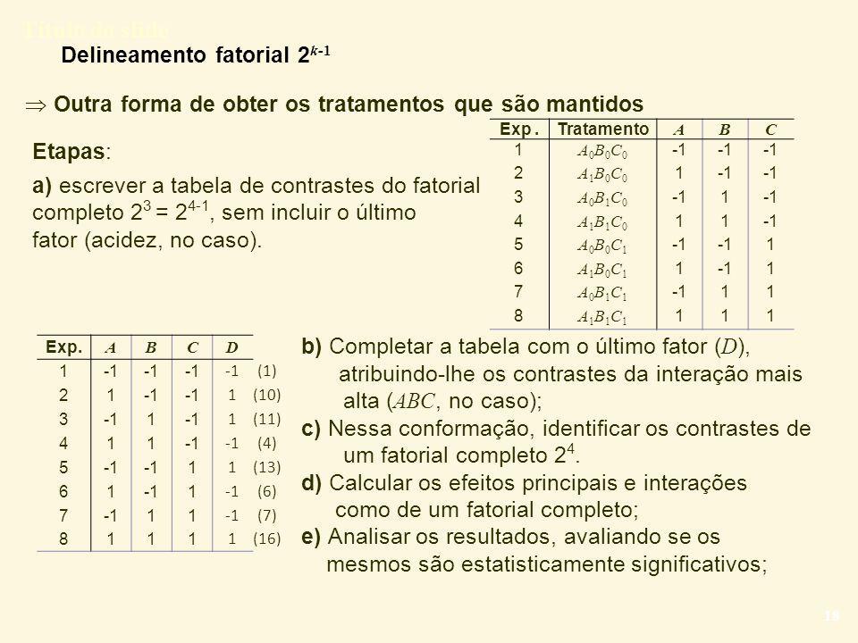 Delineamento fatorial 2k-1