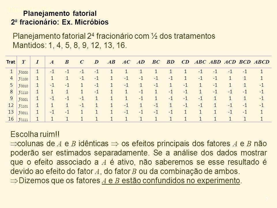 Planejamento fatorial 2k fracionário: Ex. Micróbios