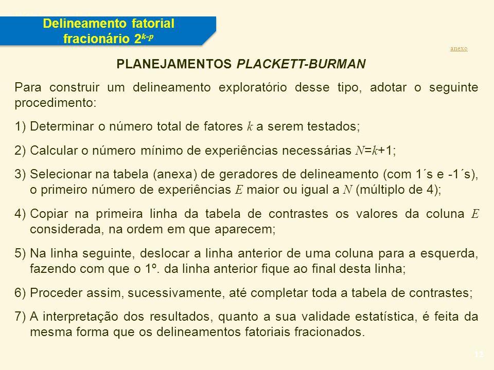 Delineamento fatorial fracionário 2k-p PLANEJAMENTOS PLACKETT-BURMAN