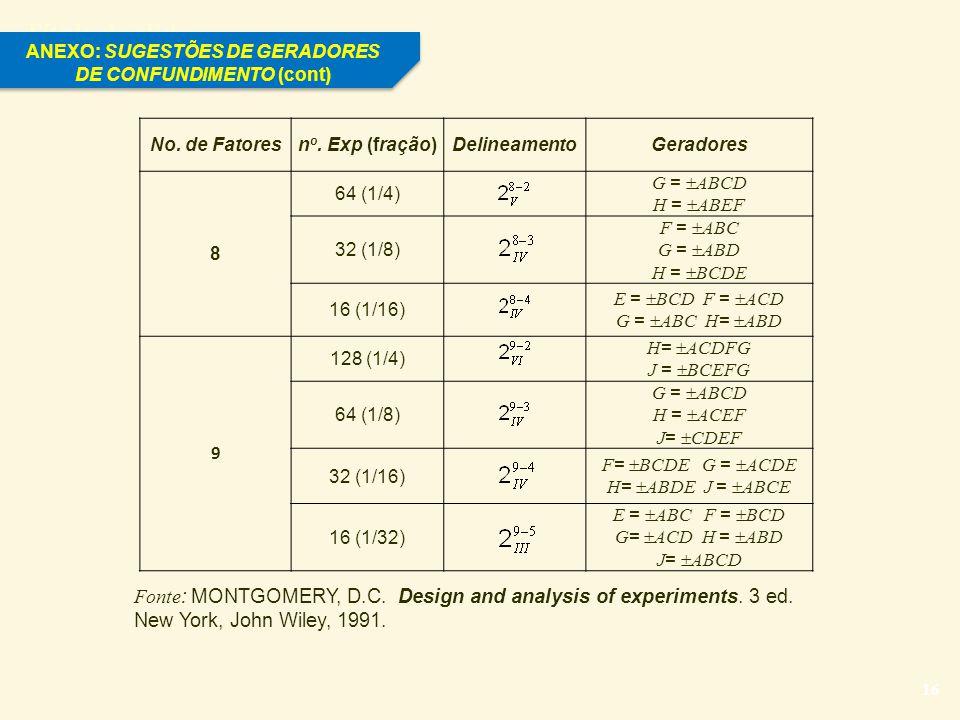 ANEXO: SUGESTÕES DE GERADORES DE CONFUNDIMENTO (cont)
