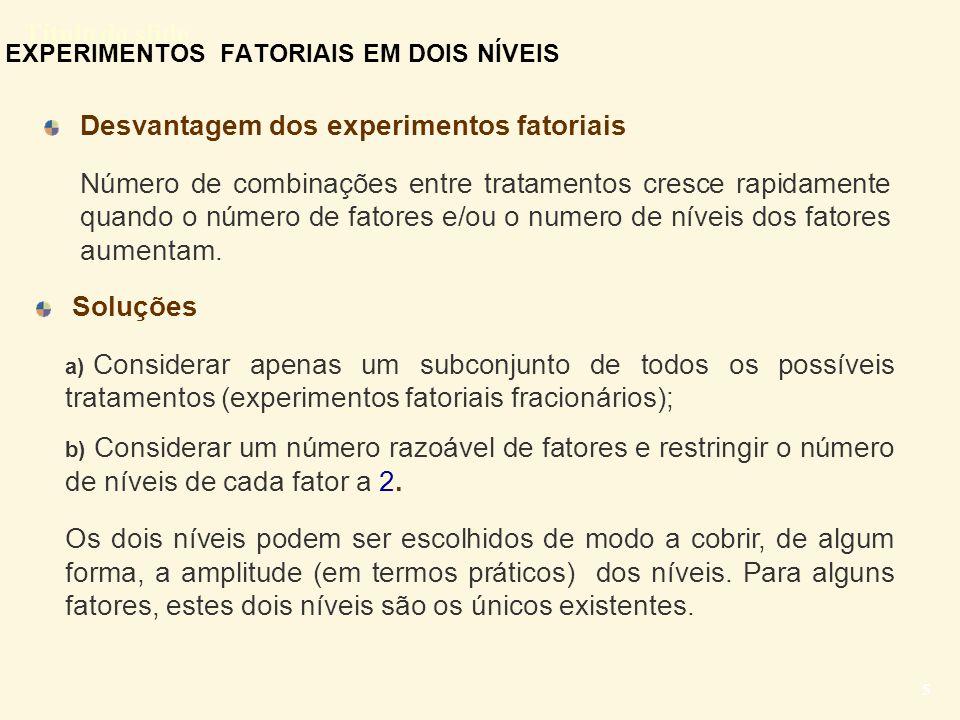 EXPERIMENTOS FATORIAIS EM DOIS NÍVEIS