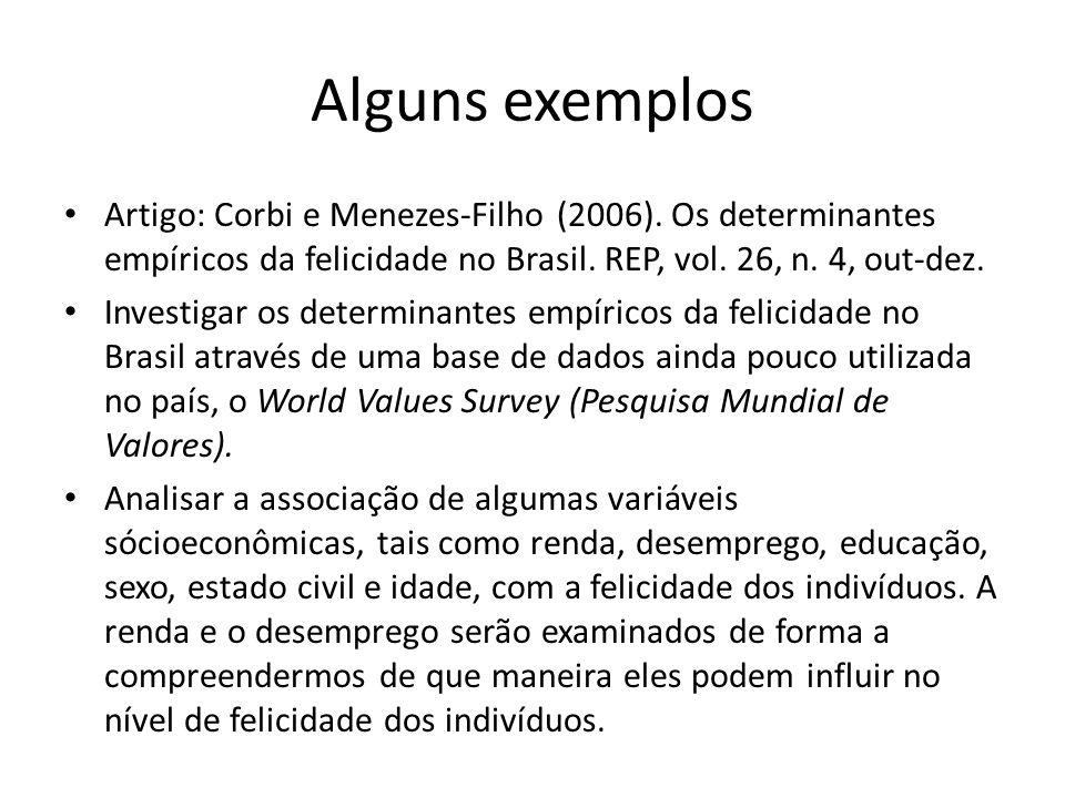 Alguns exemplos Artigo: Corbi e Menezes-Filho (2006). Os determinantes empíricos da felicidade no Brasil. REP, vol. 26, n. 4, out-dez.