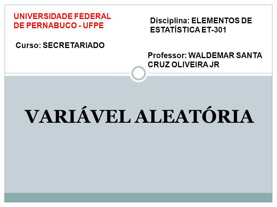 VARIÁVEL ALEATÓRIA UNIVERSIDADE FEDERAL DE PERNABUCO - UFPE